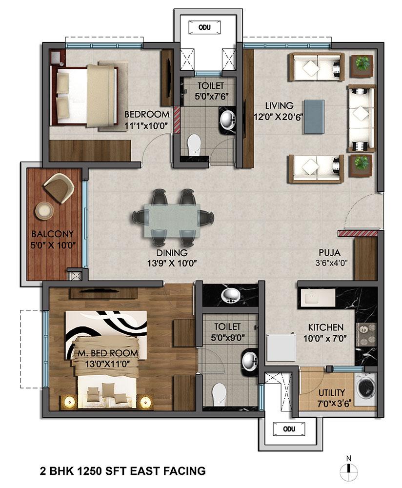 2 bedroom house plans hyderabad