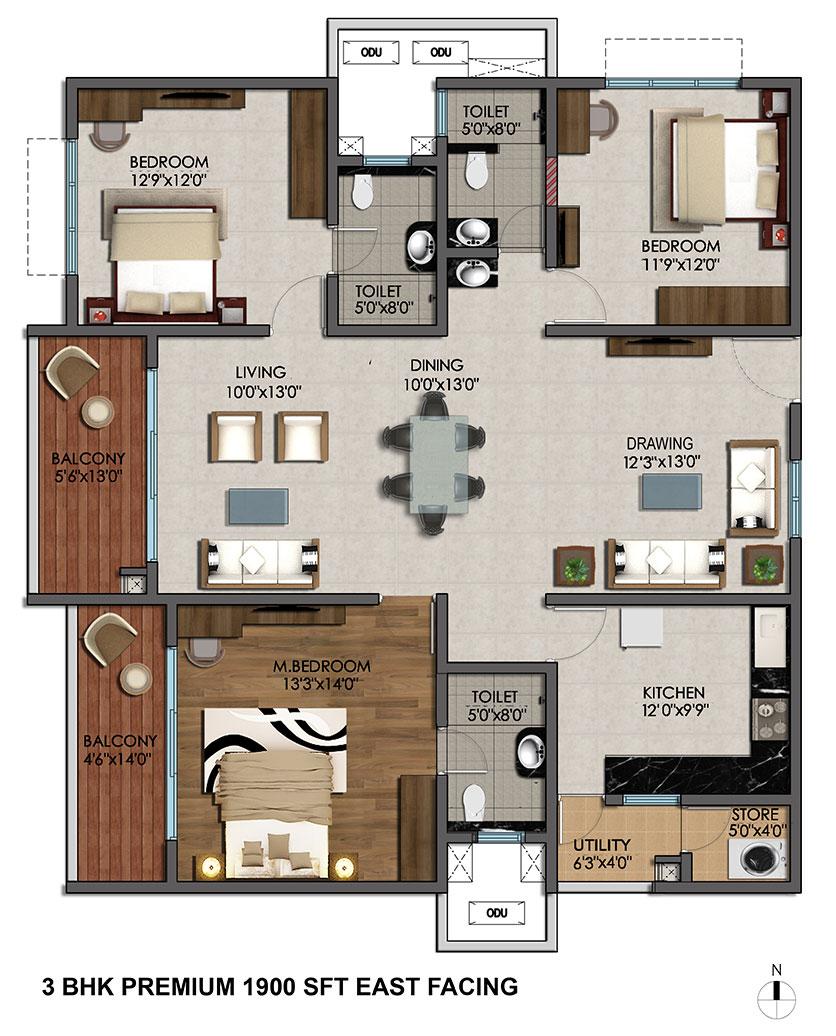 25 More 3 Bedroom 3d Floor Plans: Marina Skies